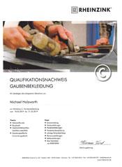 Zertifikat-Klempner-Bekleidung-Dachgauben