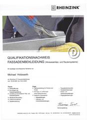 Zertifikat-Klempner-Fassadenbekleidung